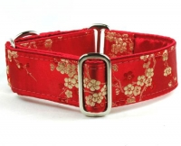 Crimson Silk Blossom Dog Collar