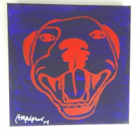 Deep Purple Pop Art HAPPY PITBULL Painting