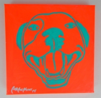 Fluorescent Red Pop Art HAPPY PITBULL Painting