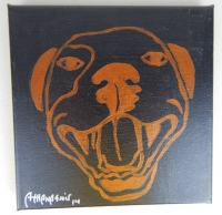 Leather Black Pop Art HAPPY PITBULL Painting