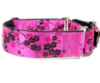 Magenta Silk Blossom Dog Collar