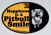 PITBULL SMILE Oval Bumper Sticker