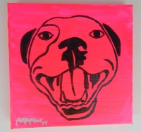 Punk Pink Pop Art HAPPY PITBULL Painting