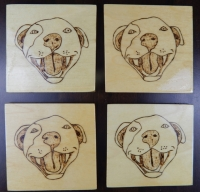 Pitbull SMILE Wooden Coasters Set of 4