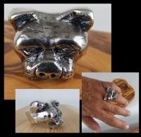 SILVER PITBULL HEAD Ring