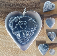 Silver HAPPY PITBULL HEART Pendant