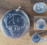 Silver HAPPY PITBULL ROUND Pendant