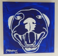 Velvet Blue Pop Art HAPPY PITBULL Painting