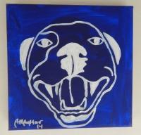 Velvet Blue Pop Art HAPPY PITBULL Painting